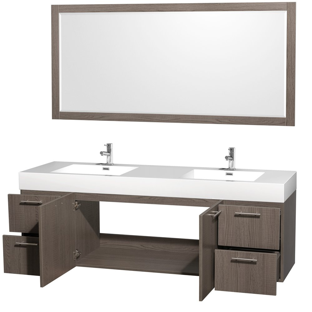 Wyndham Collection Amare 72 inch Double Bathroom Vanity in Grey ...