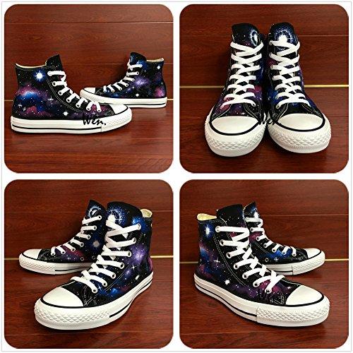 Wen Origineel Ontwerp Melkweg Starlight Handgeschilderde Canvas Schoenen Unisex Sneakers