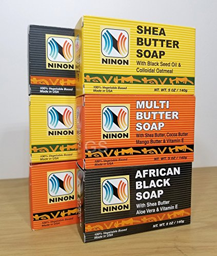 (Ninon Soap Combo 100% Vegetable Based (6 Pack). African Black Soap, Shea Butter Soap, Multi Butter Soap. 080585090197 Skin Face Moisturizer Shower Shampoo Conditioner Body Wash Bath)