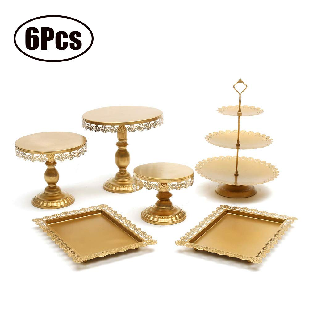 Agyvvt Set of 6 Pieces Cake Stands Iron Gold Cupcake Holder Fruits Dessert Display Plate White for Baby Shower Wedding Birthday Party Celebration Home Decor Serving Platter by Agyvvt