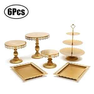 Agyvvt Set of 6 Pieces Cake Stands Iron Gold Cupcake Holder Fruits Dessert Display Plate White for Baby Shower Wedding Birthday Party Celebration Home Decor Serving Platter