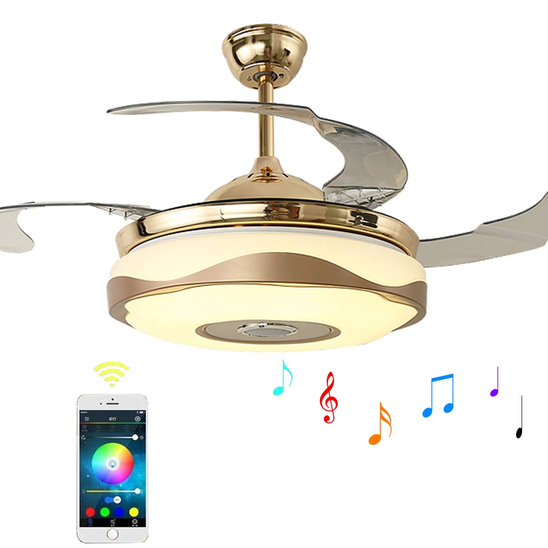 Moerun 42 Inch Ceiling Fans With Lights Bluetooth Speaker Modern Light Wiring Diagram The Main Problem Invisible Leaf Chandelier Fan Remote Control For Bedroom Living Room 7 Color