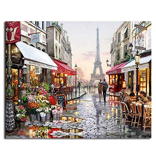 Frameless Europe City Street DIY Painting by Numbers Home Decoration Handpainted Abstract Oil Painting for Living Room ()