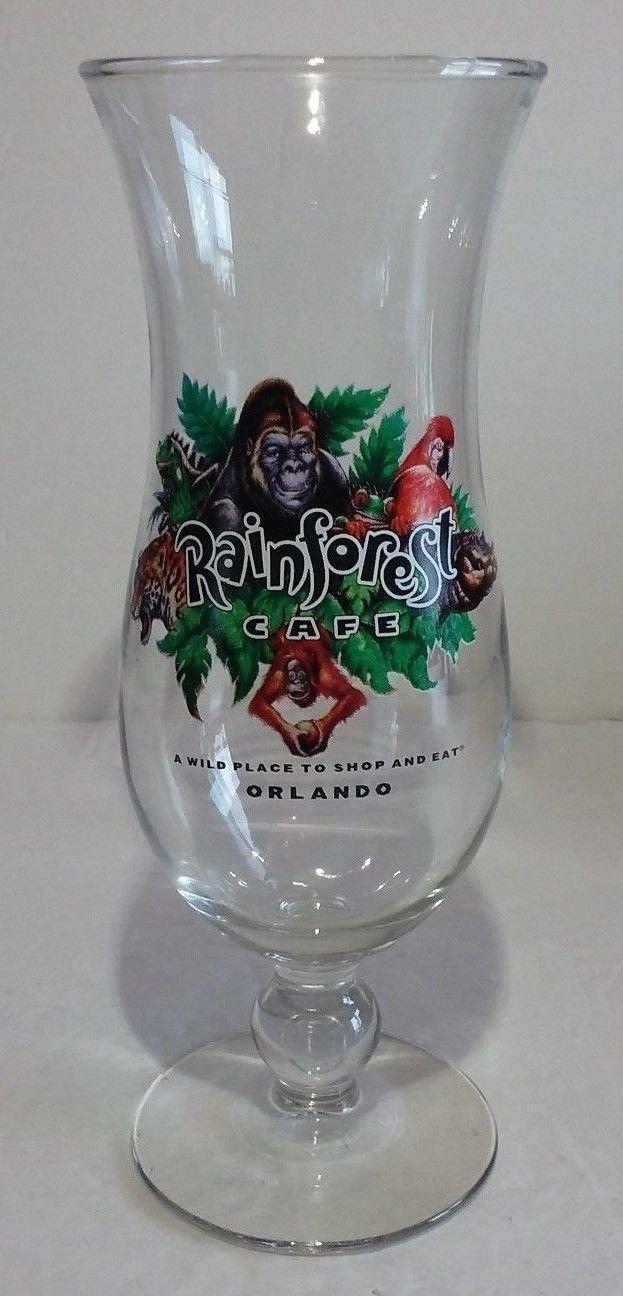 Rainforest Cafe Hurricane Glass Orlando Florida Tall Collectible Souvenir
