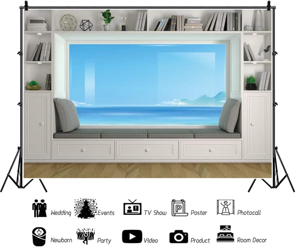 YongFoto 10x8ft Indoor Room Backdrop White Modern Furniture Bookshelf Sofa Seaview Window Photography Background Party Theme Banner Family Home Room Decor Vinyl Poster Photo Studio Props