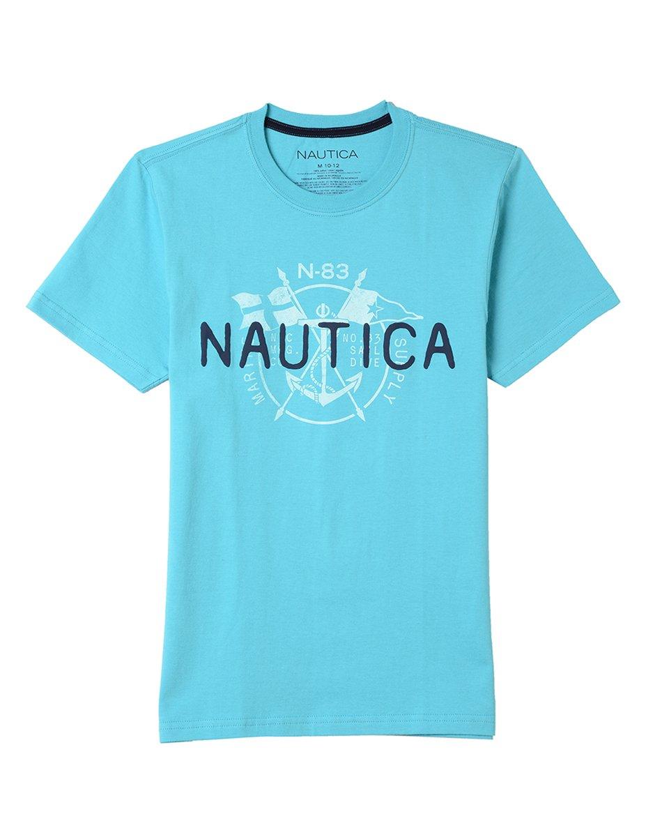 Nautica Big Boys' Short Sleeve Logo Graphic T-Shirt, Sam Casper Blue, Large (14/16)
