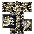 """Kimono Yukata Men's 61"""" L Falcon Dragon Pattern Cotton Black/Made Japan"""
