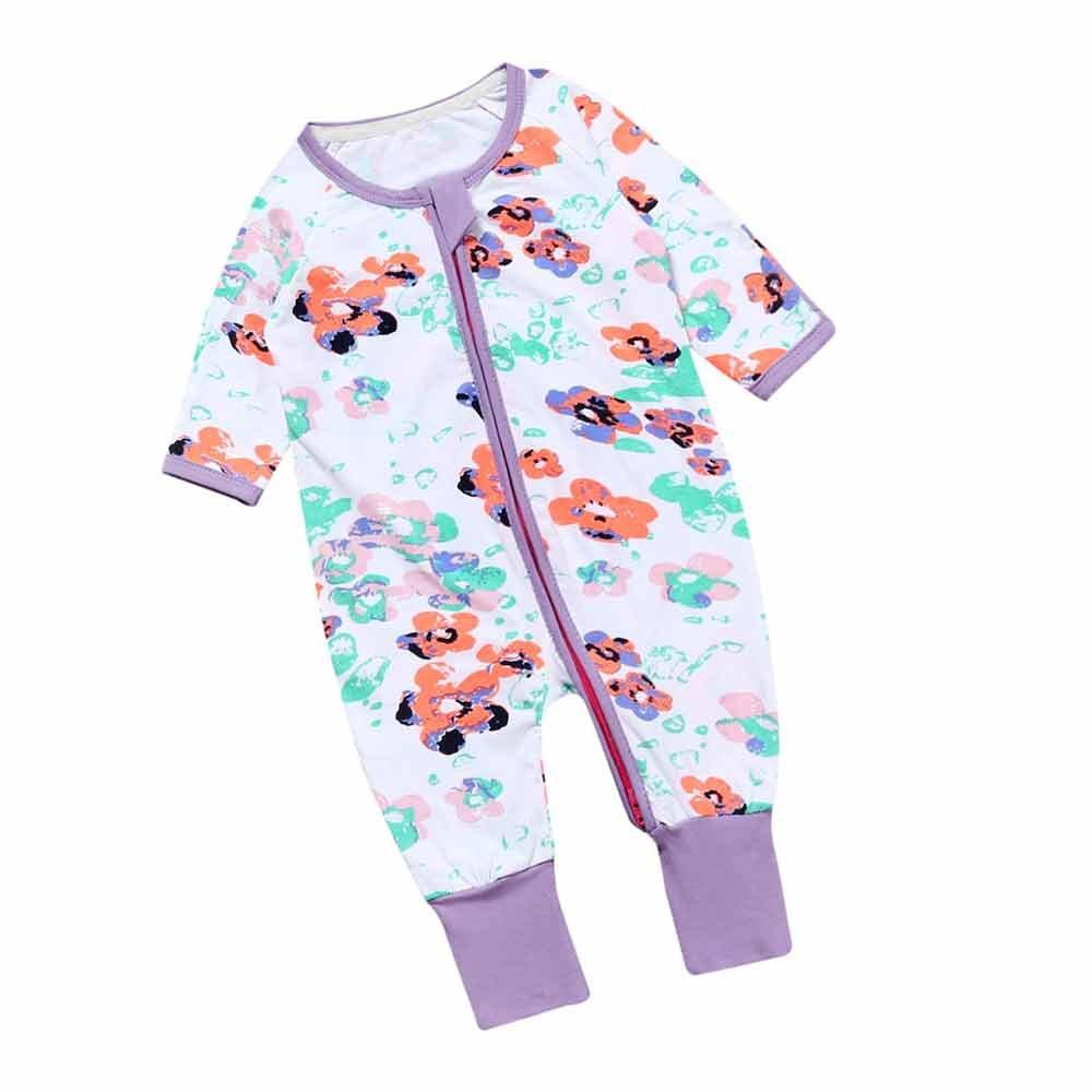 Newborn Infant Baby Girl Flower Purple Zip Front Long Sleeve Sleep 'N Play Mary ye