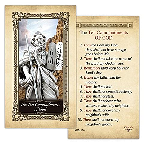 The Ten Commandments of God Laminated Holy Card - Pack of 25 - God Prayer Card