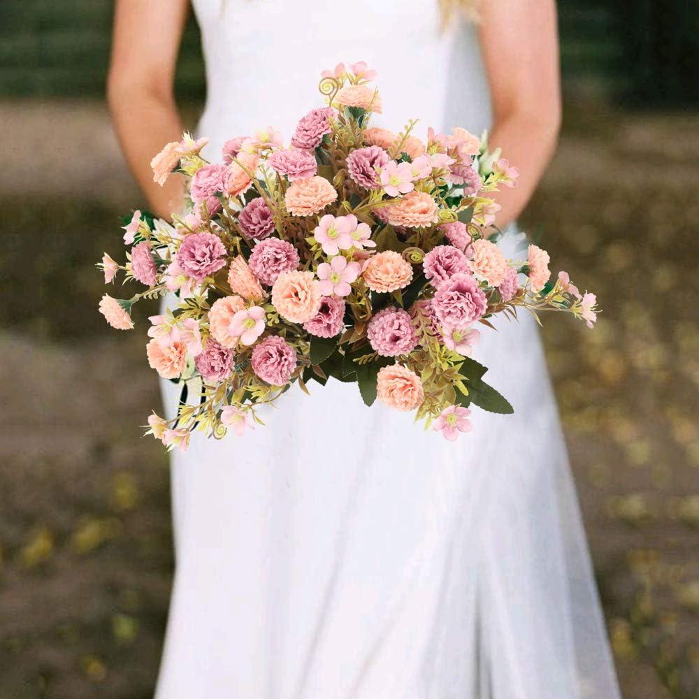 Feste Matrimoni DIY NAHUAA 2 Pezzi Fiore Artificiale Fiore Finto Pink Mazzo di Rose Artificiali Costituito da 5 Rami e 11 Rose Interno Esterno Bouquet Decorativo per Case
