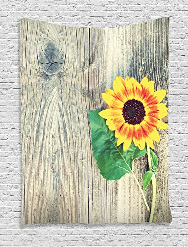 Sunflower Decor Tapestry by Ambesonne, Sunflower On