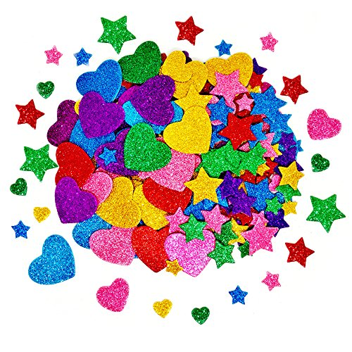 (TTSAM 260 Pieces Colorful Glitter Foam Stickers Self Adhesive Stars Mini Heart Shapes Glitter Stickers, Kid's Arts Craft Supplies Greeting Cards Home Decoration Stars&Heart Shapes)
