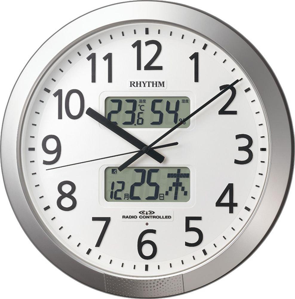リズム時計 掛け時計 電波 アナログ プログラム カレンダー 404SR 【 36回 プログラム チャイム 機能 】 オフィス タイプ 銀色 RHYTHM 4FN404SR19 B014QH4OVS