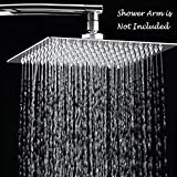 Rain Shower Head, 10 Inch Ultra Thin 304 Stainless Steel Solid Square Showerhead, High Pressure Rainfall Showerhead With Chrome Finish,Water Saving