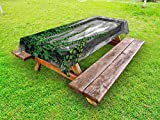 Lunarable Mystic Outdoor Tablecloth, Ivy Plant on Wall Aged Antique Looking Picture Frame as a Window Creative Art, Decorative Washable Picnic Table Cloth, 58 X 84 inches, Green and Grey