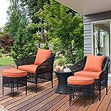 Tangkula 5 PCS Patio Rattan Sofa Ottoman Furniture Set Outdoor Garden Lawn Wicker Rattan Conversation Sofa Set w/Cushions (Orange)