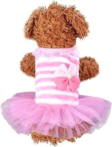 Wouke Dog Cat Bow Tutu Dress Lace Skirt Pet Puppy Dog Princess Costume Apparel Clothes