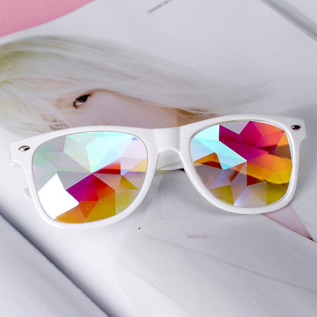 Chartsea Kaleidoscope Glasses Rave Festival Party EDM Sunglasses Diffracted Lens (White,B) by Chartsea (Image #3)