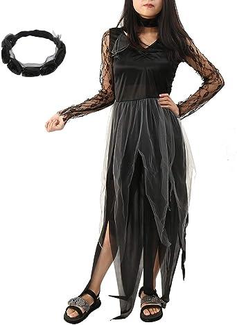 IL LADIES IVORY GHOST BRIDE COSTUME HALLOWEEN FANCY DRESS ZOMBIE CORPSE BOUQUET