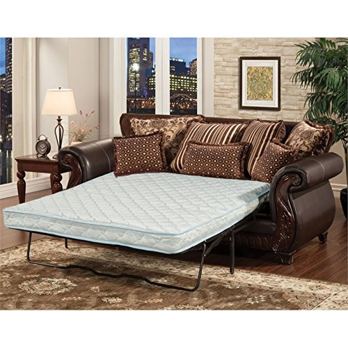 Furniture of America Lozano Sleeper Sofa in Dark Brown