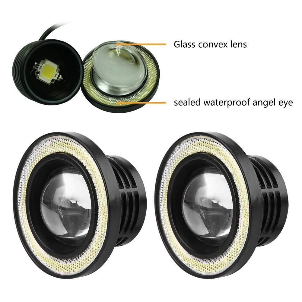Broco Universali 2pcs 30W LED COB Angel Eyes Daytime Running Light Fari auto veicolo 3.5in