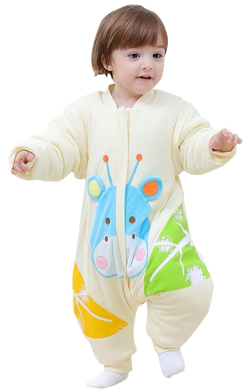 BEIFANCHEN - Infantil Mono Saco de Dormir Algodón Grueso Invierno con Pies Mangas Desmontables para Bebé con Cremallera Pijama Estampado 3D Dibujo Animado para Niños Niñas - Amarillo - Talla M