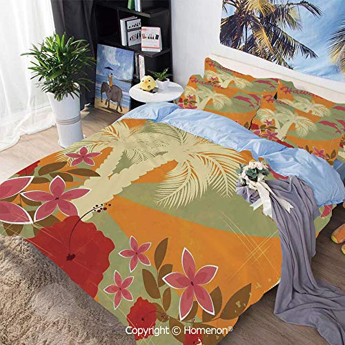 Three-Piece Bed,Aloha Vintage Style Print Colorful Swirl Background Dolphins Palm Trees Flowers,Twin Size,Include 1 Quilt Cover+2 Pillow case,Red - Aloha Crib Baby