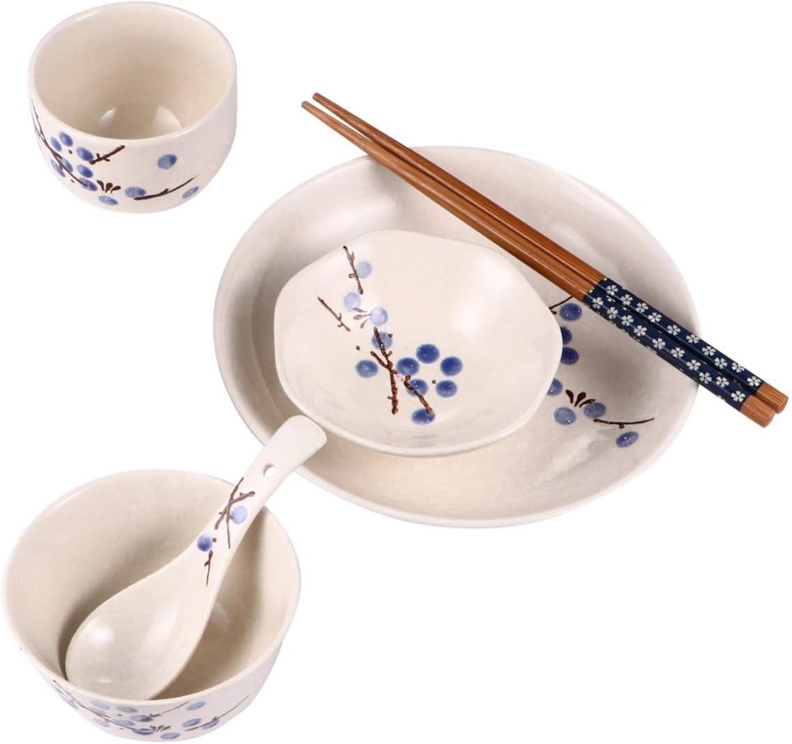 Hemoton Juego de Vajilla de Estilo Japon/és de 6 Piezas Plato de Cena de Cer/ámica Cuenco Tazas Juegos de Palillos de Cuchara