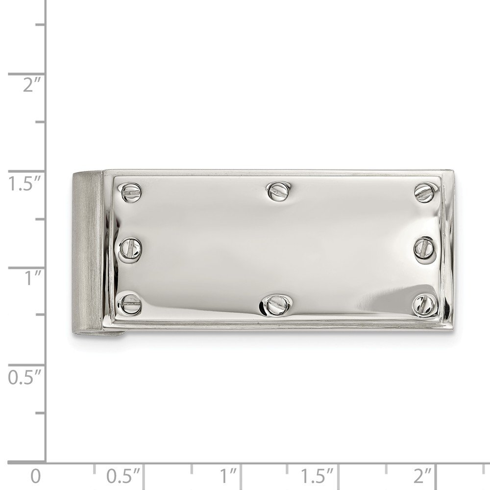 21.9mm x 52.3mm Stainless Steel Polished Screw Money Clip