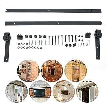Sistema de puerta corredera, riel de puerta corredera, herraje para puerta corredera, herraje para armario, armario de madera, juego de herramientas para una puerta: Amazon.es: Bricolaje y herramientas