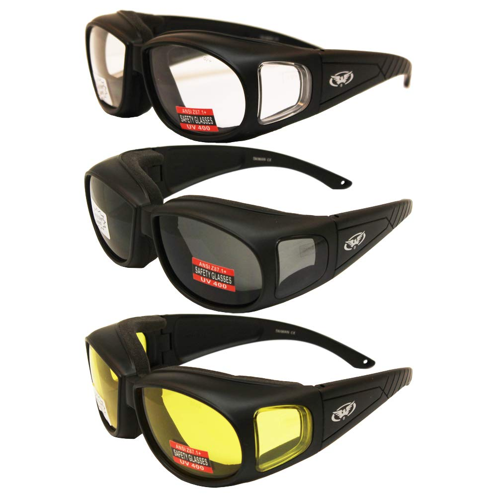 Three (3) Pairs Motorcycle Safety Sunglasses Fits Over Rx Glasses Smoke, Clear, and Yellow Day & Night & Gun Range! Usage Meets ANSI Z87.1 Standards by Global Vision Eyewear