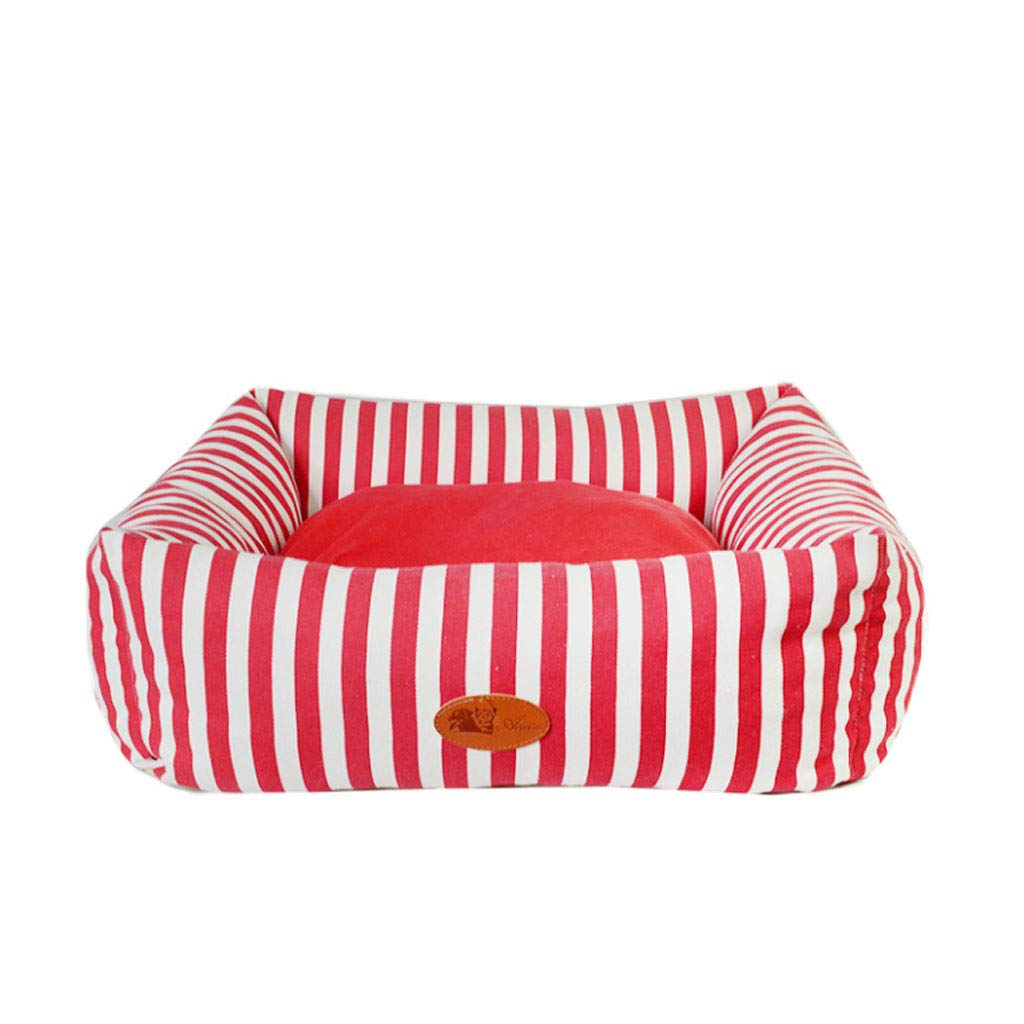 RED 60x60x18cm RED 60x60x18cm YangMi pet bed- Kennel Removable And Washable Dog Supplies Pet Nest Autumn And Winter Small Medium And Large Kennel (color   RED, Size   60x60x18cm)