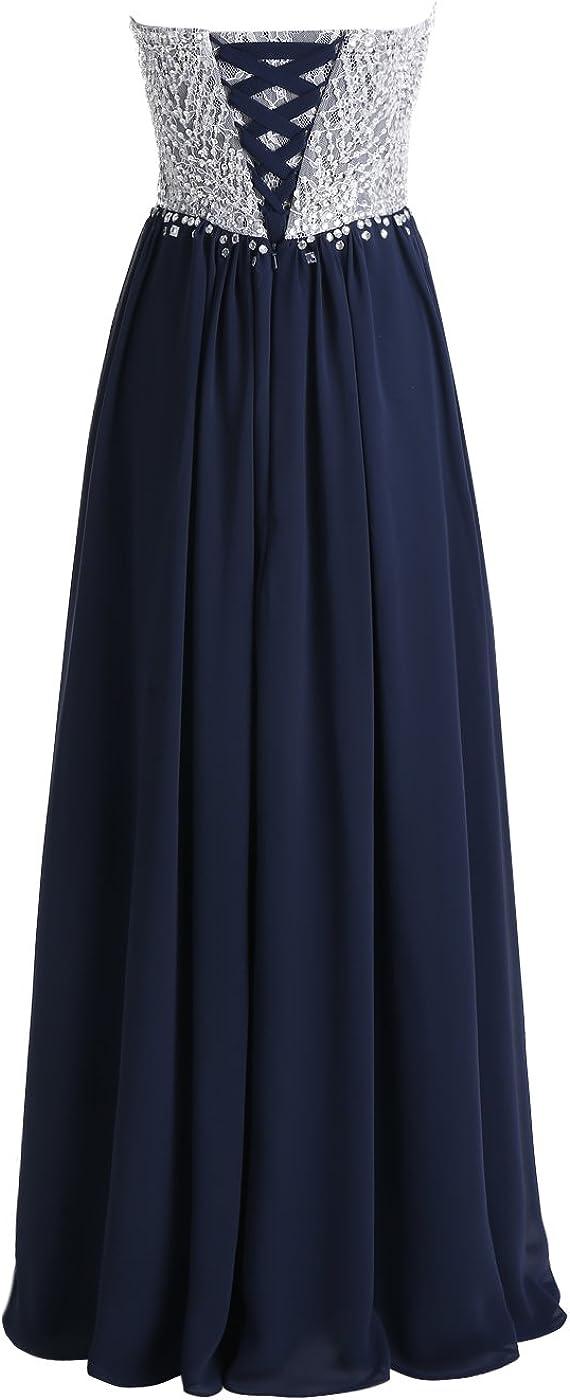 ALAGIRLS Robe de Soirée Longue en Mousseline avec Appliques Taille Réglable Bustier Robe Fête Bal Brillante Charmante Noir