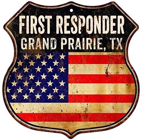 GRAND PRAIRIE, TX First Responder American Flag 12x12 Metal Shield Sign - Grand Prairies