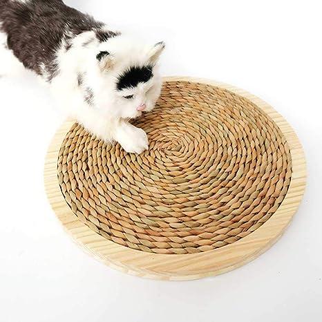 Almohadillas para rascar el gato KOBWA 34cm grande Alfombra de madera sólida de sisal Cojín de