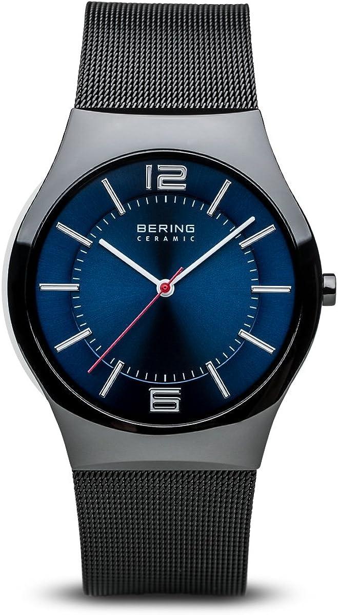 Bering Ceramic - Reloj analógico de caballero de cuarzo con correa de piel negra - sumergible a 30 metros