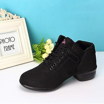 Lorenlli Zapatos de Baile Suaves y Transpirables para Mujer con Vampiros  Netos Cuñas con Banda elástica a9b7e813ab4