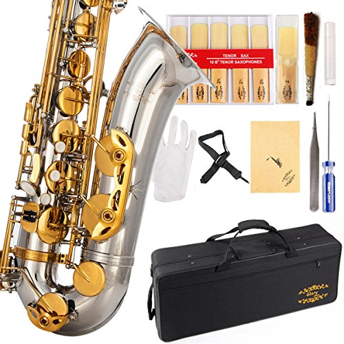 Glory Nickel /Gold B Flat Tenor Saxophone with Case,10pc Reeds,Mouth Piece,Screw Driver,Nipper. A pair of gloves, Soft Cleaning Cloth.