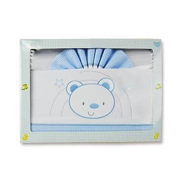 Flanell 3 St/ück 60 x 120 cm 100/% Baumwolle Blau-Wei/ß Kinderbett 60 x 120 cm PEKITAS Baby-Bettw/äsche-Set