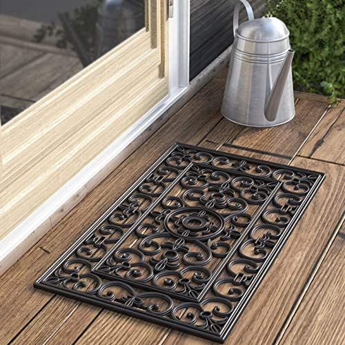 Kempf Rubber Scroll Doormat Rectangular, Wrought Iron, Black, Indoor Outdoor Entrance Mat, 18-inch by 30-inch