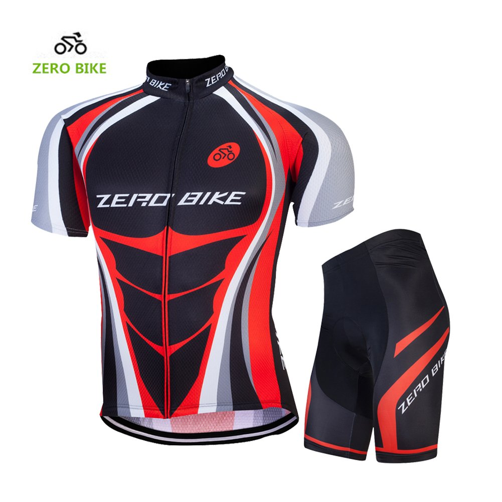 ZEROBIKE Men's Cycling Jersey Breathable Full-Zipper Comfortable Cycling Top and 4D-Padded Pant karru