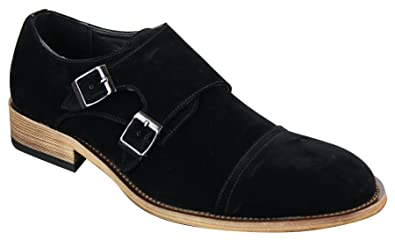 Mens Suede Double Strap Monk Shoes Pu Black Navy Blue Classic Retro