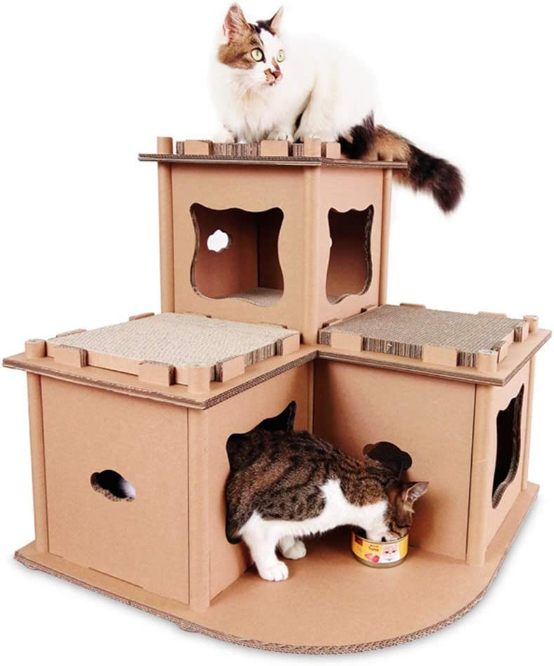 B Mf Cat Scratch Cat House Recyclable Cardboard Diy Assembly Corrugated Paper Protect Your Furniture Cat Indoor Apartment Activity Center Home Kitchen