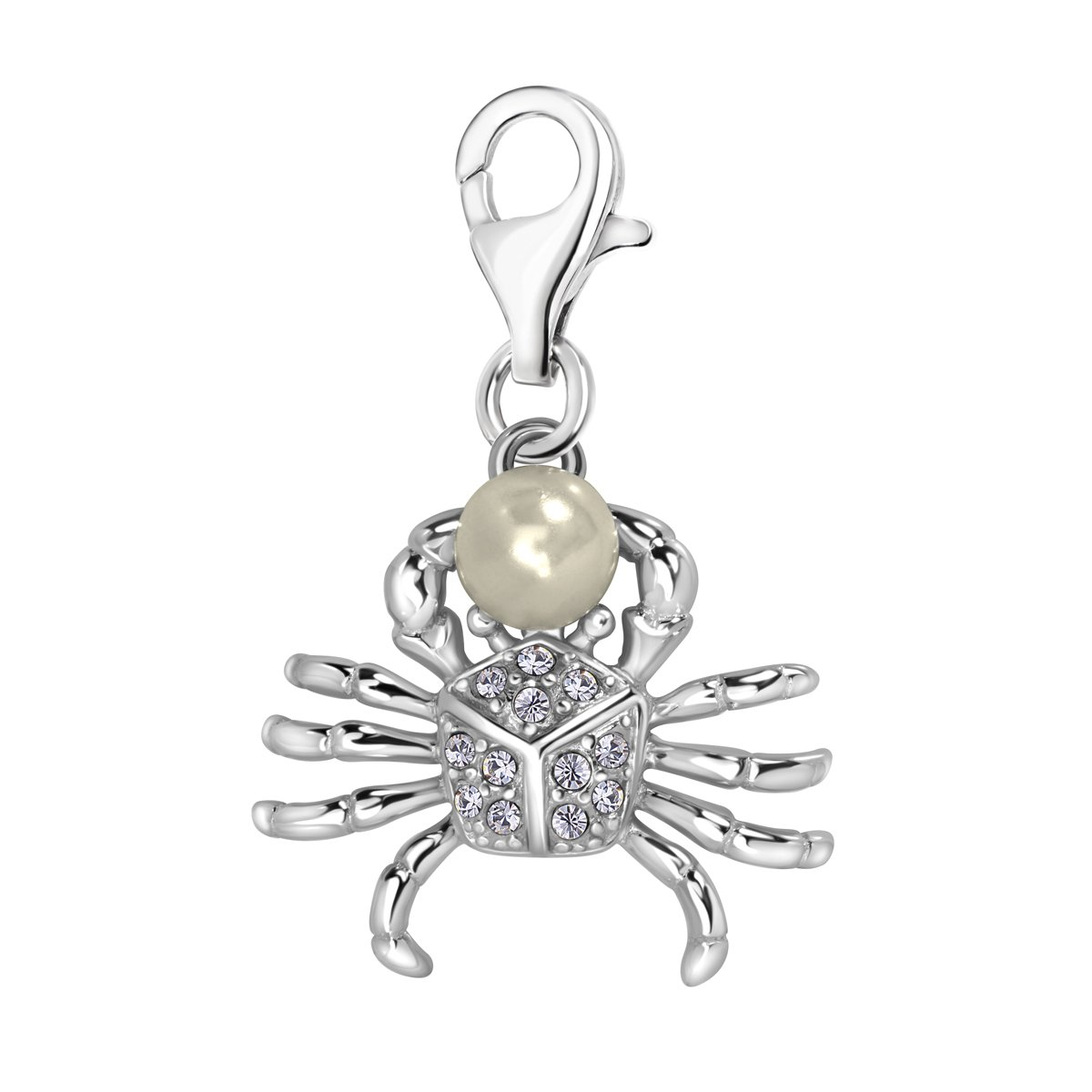 Quiges 925 Sterling Silver White Cubic Zirconia and Imitation Pearl 3D Crab Lobster Clasp Charm Clip on Pendant