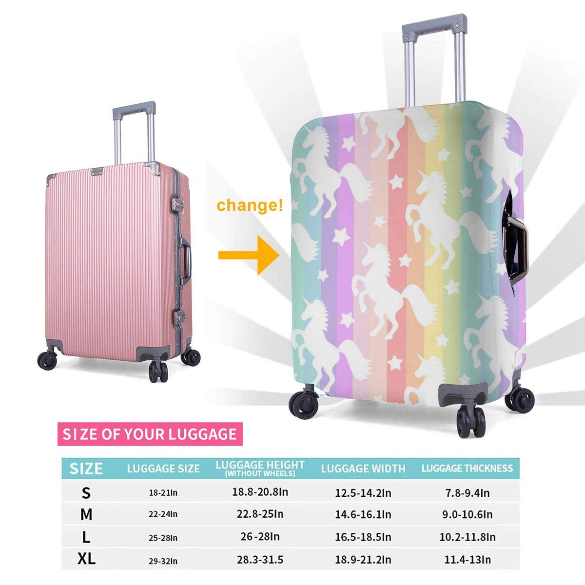 Rainbow Stripes Unicorns Travel Luggage Cover Suitcase Protector Washable Zipper Baggage Cover