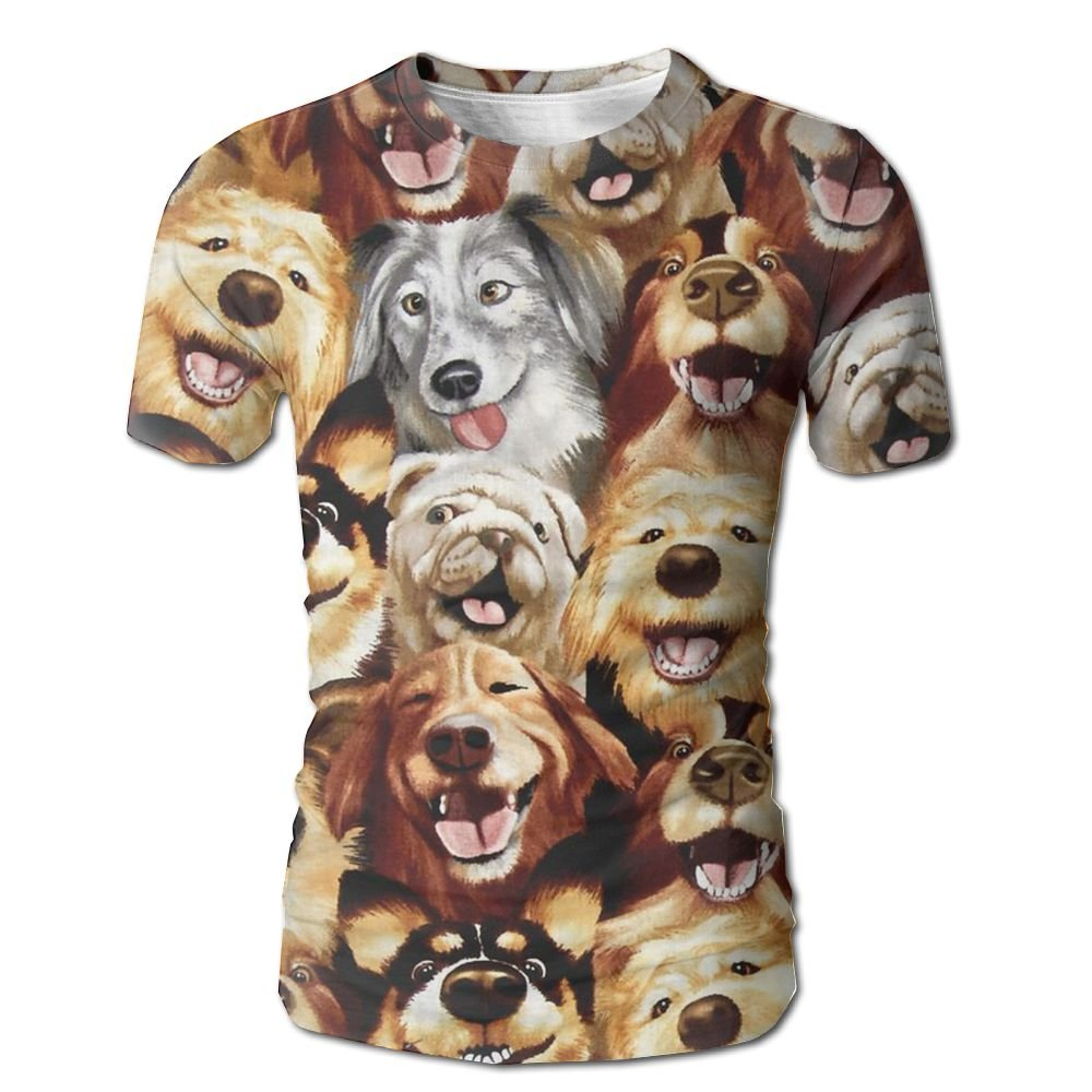 XIA WUEY Puppy Party MensNovelty Baseball Tshirt Graphic Tees Tops For Outdoor by XIA WUEY