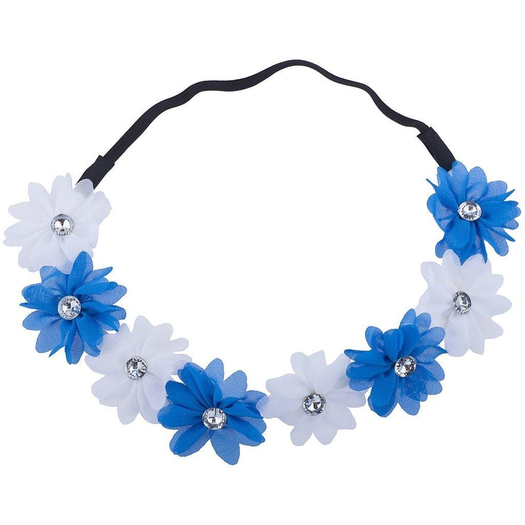 Lux Accessoires North Carolina State Blanc Bleu en mousseline de soie Bandeau Couronne de fleurs