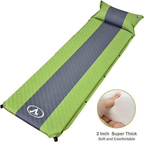 charaHOME Camping Sleeping Pad Self-Inflating with Attached Pillow Compact Camping Mat Lightweight for Backpacking Hiking Inflatable Waterproof Sleeping Mat for Outdoors 2 Extra Thick
