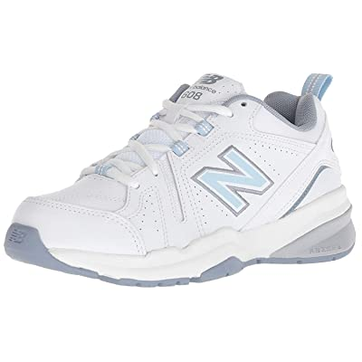 new balance Women's 608v5 Casual Comfort Cross Trainer, White/Light Blue, 11 2A US | Fashion Sneakers