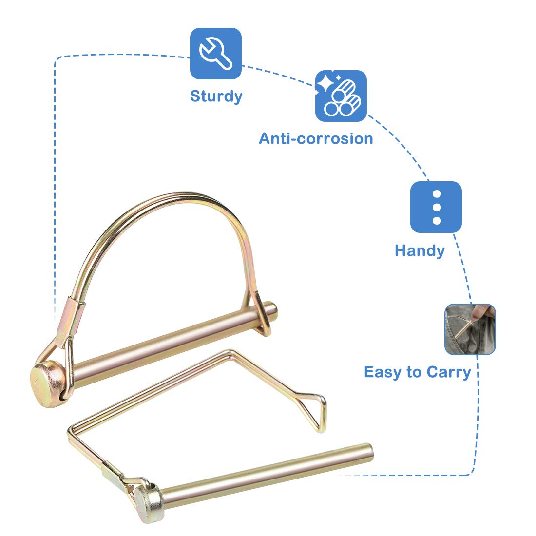 Square And Arch Dia 1//4 Inch Safety Coupler Pin For Farm Lawn Garden Wagons Trailer Hitches Couplers Towing CZC AUTO Shaft Locking Pin 10 Pieces Trailer Coupler Pin Heavy Duty